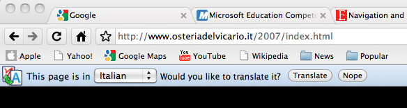 Google Chrome's translate page prompt